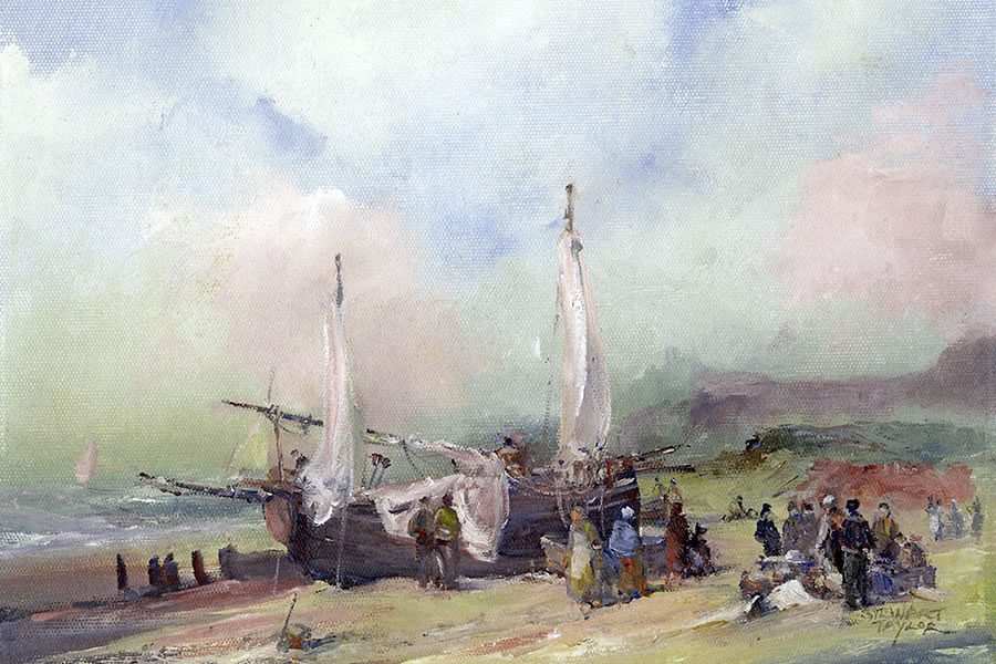 Painting of fisherfolk unloading their catch