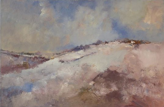 Landscape oil painting of snow on the Yorkshire Wolds