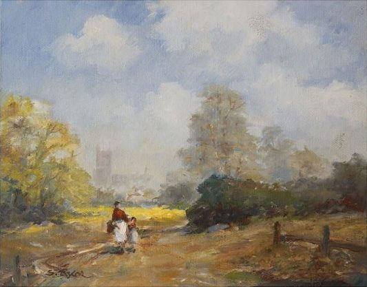 Oil painting of country folk heading to to market