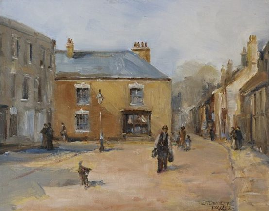 Oil painting of the marketplace in Hedon, East Yorkshire