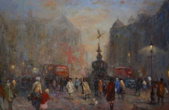 Oil painting of Piccadilly, London at dusk