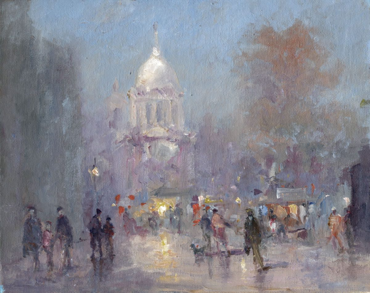 Oil on board of an evening market scene