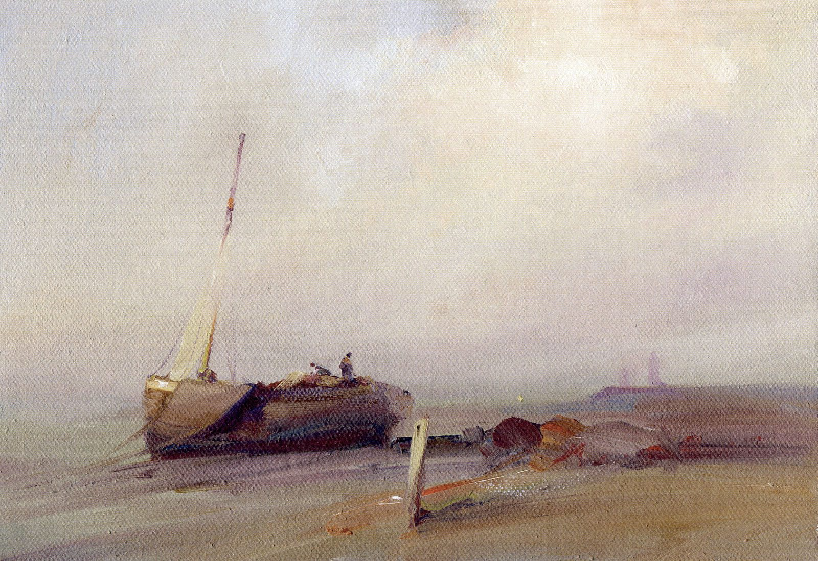 Marine oil painting of a fishing vessel beached at Spurn Point, by Stewart Taylor