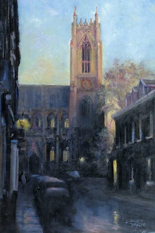 Oil painting of Beverley Minster during evening showers.