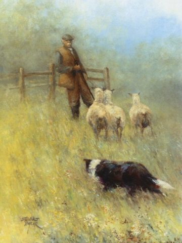 Oil painting of shepherd with dogs and sheep