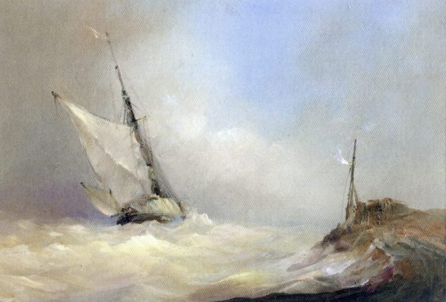 Marine landscape with sailing boat pitching in a gale. Oil painting by Stewart Taylor.