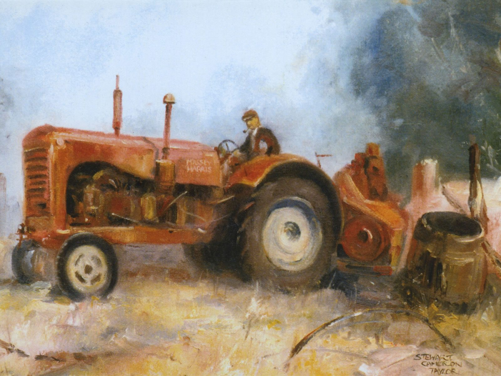Oil painting of farmer on his tractor
