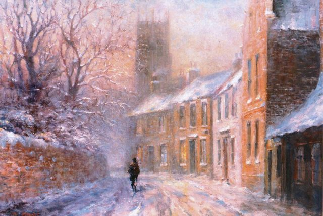 Oil painting of timeless Hedon street in winter by Stewart Taylor
