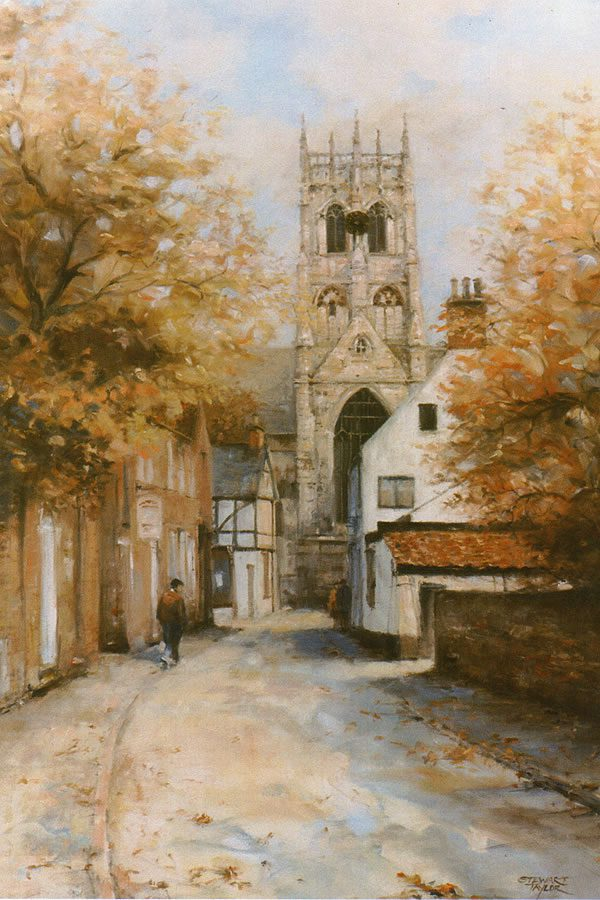 Oil painting of autumnal village street by Stewart Taylor.