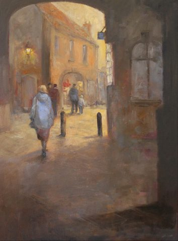 Street scene in oils by East Yorkshire artist Stewart Taylor