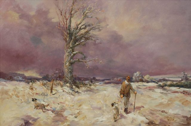 Rural winter scene by East Yorkshire artist Stewart Taylor