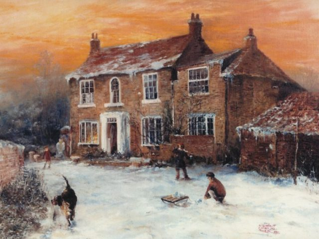 Oil painting of a winter scene at Welwick East Yorkshire by Stewart Taylor