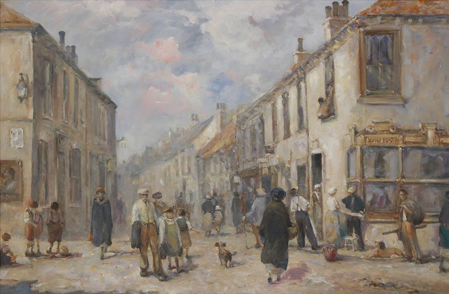 Tradition street scene from Hedon East Yorkshire painted in oils