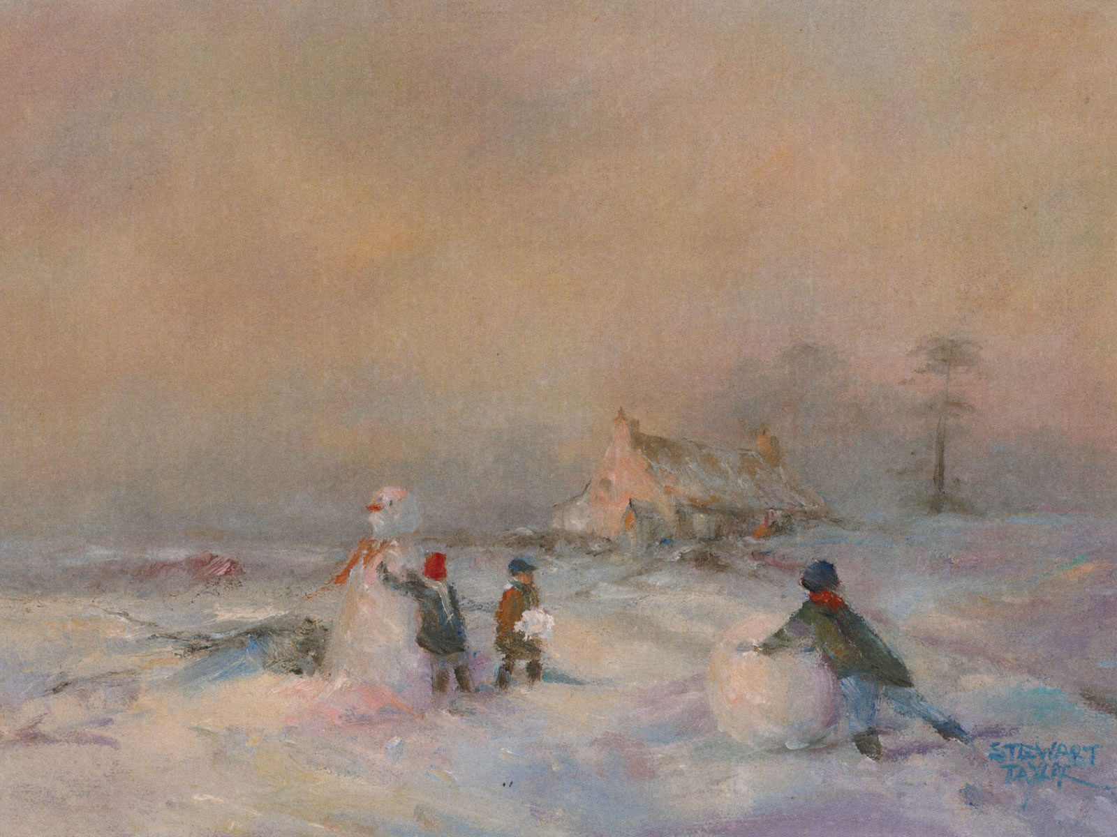 Children at play in the snow in this oil painting by Stewart Taylor