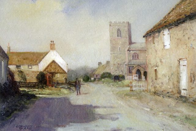 Painting of pastoral scene, Tunstall, East Yorkshire