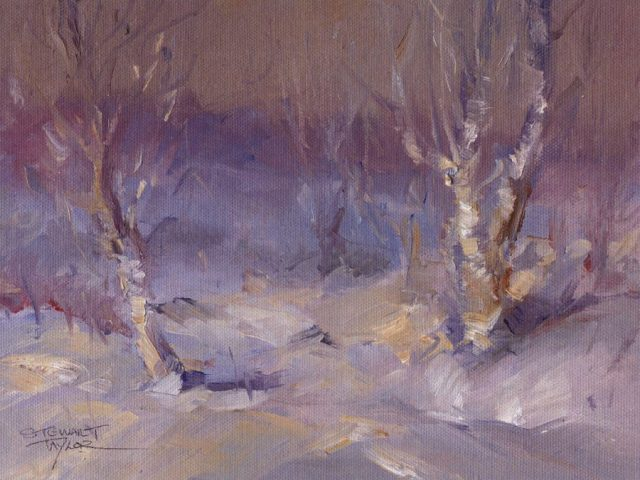Oil painting of trees in winter snow