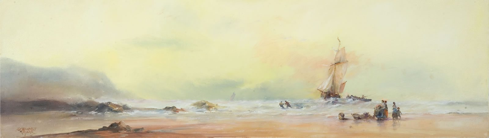 Marine oil painting of a sailing ship in a storm off the Holderness coast