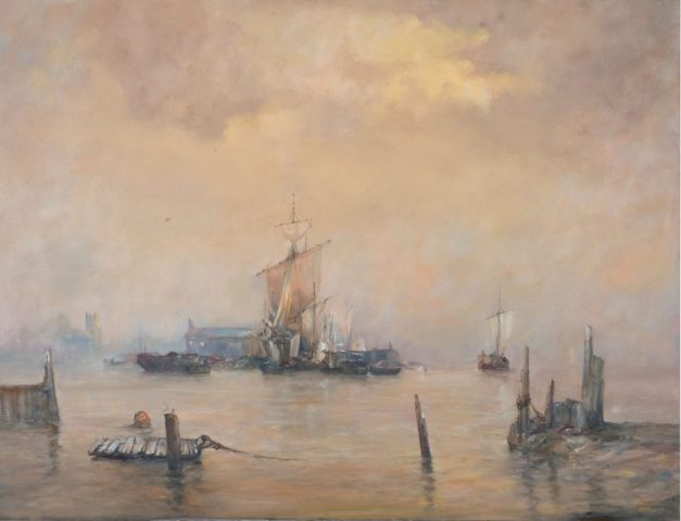 Marine oil painting of sailing ships on the Humber