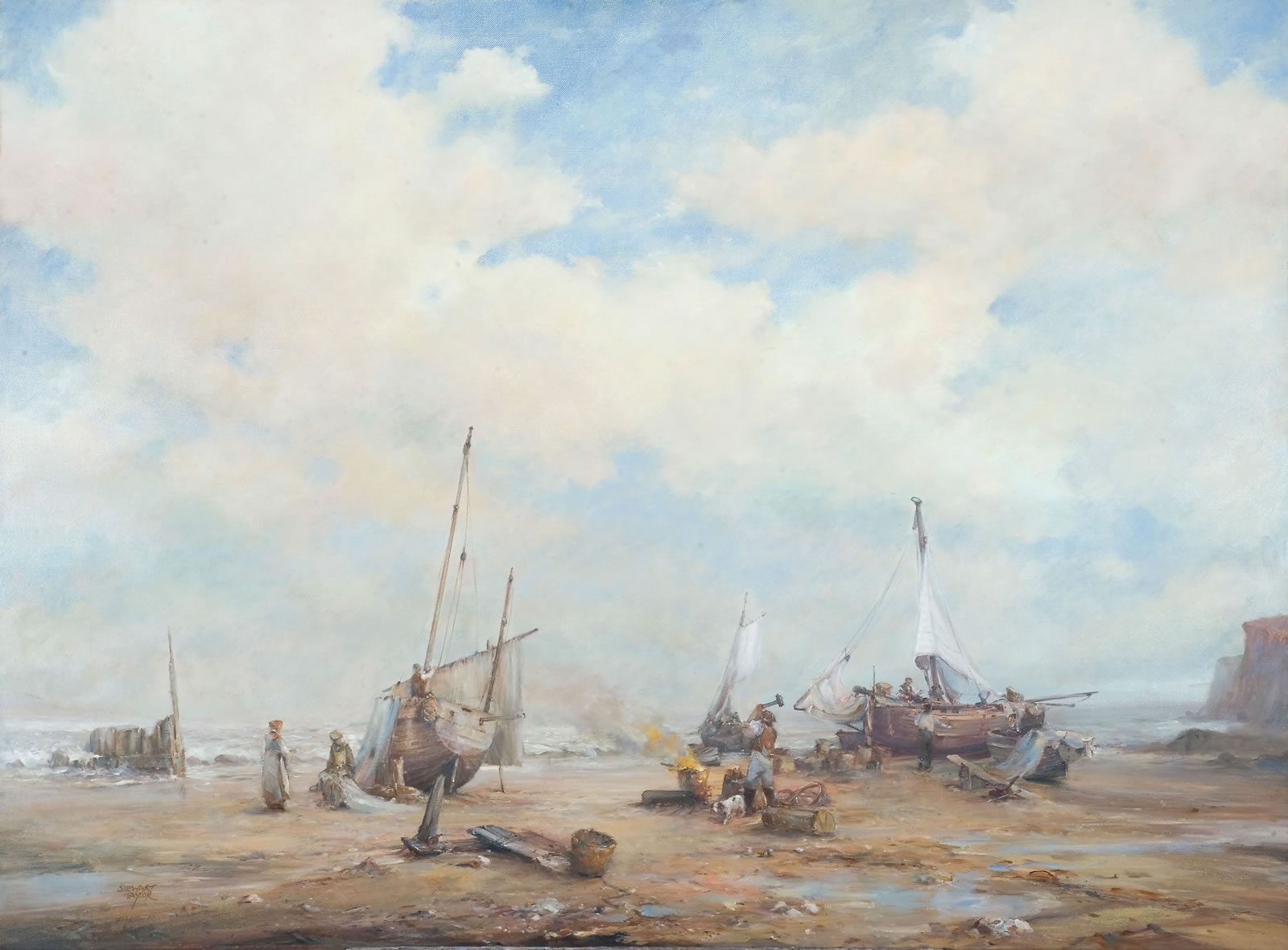 Oil painting of men at work repairing fishing boats