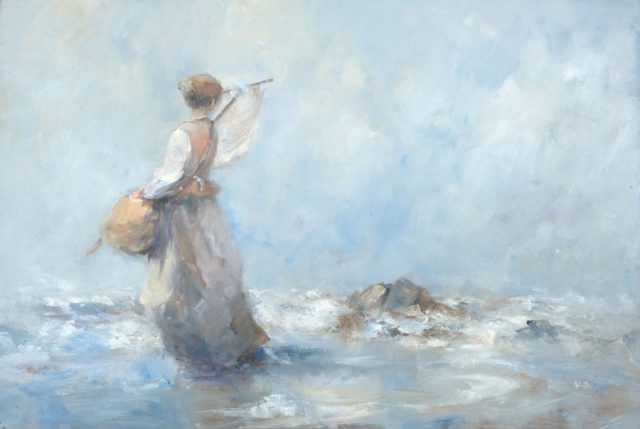 Oil painting of young girl collecting shrimps on the beach