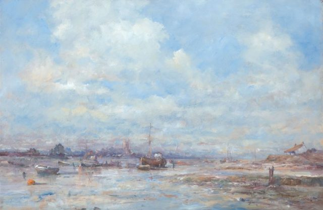 Oil painting of sailing craft moored at shelter
