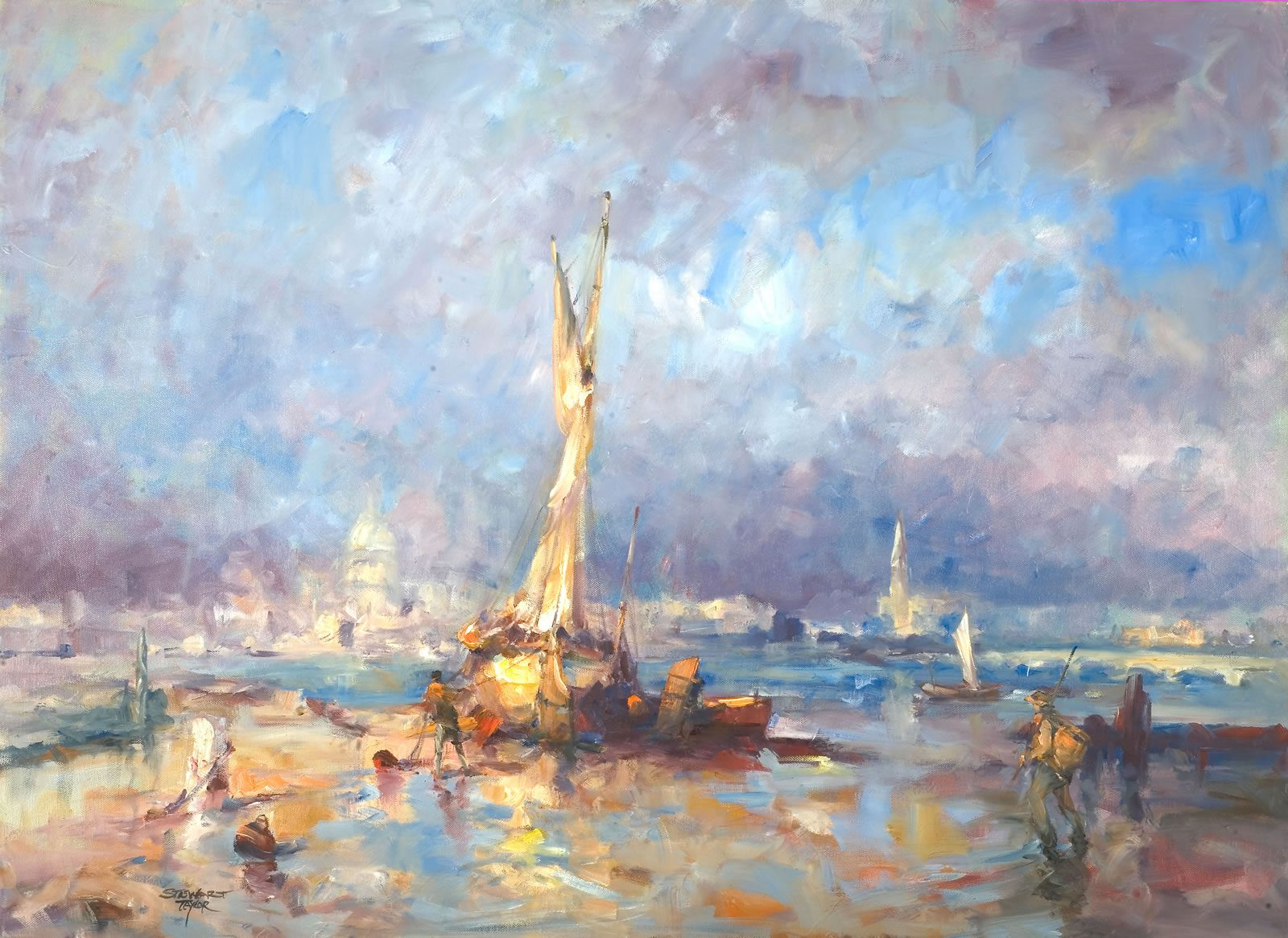 Oil painting of sailboats in the golden evening light