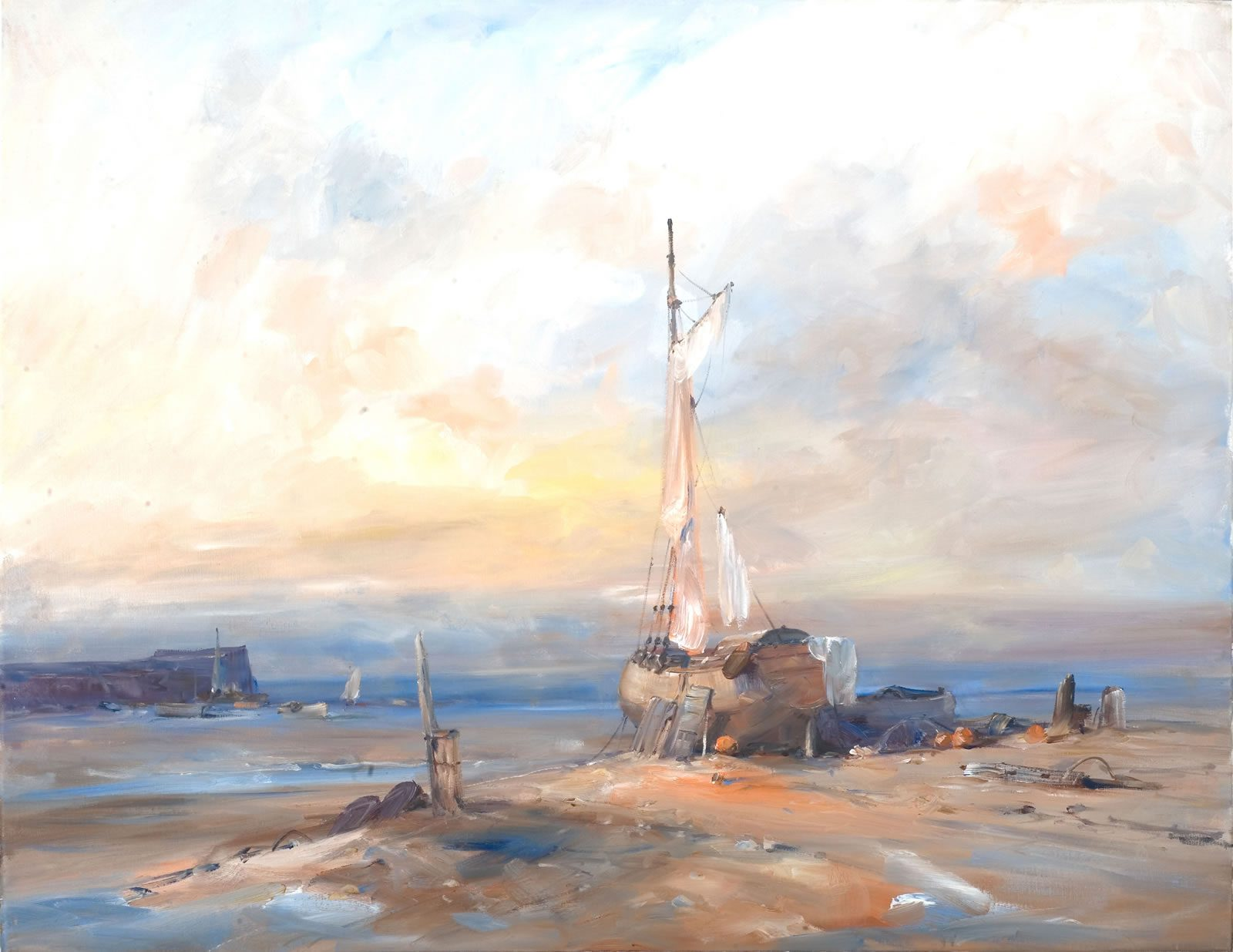 Marine oil painting of the sunset over the Holderness Coast