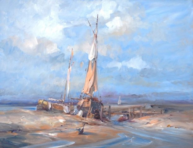 Marine oil painting of sailing boats at Ferriby at dawn