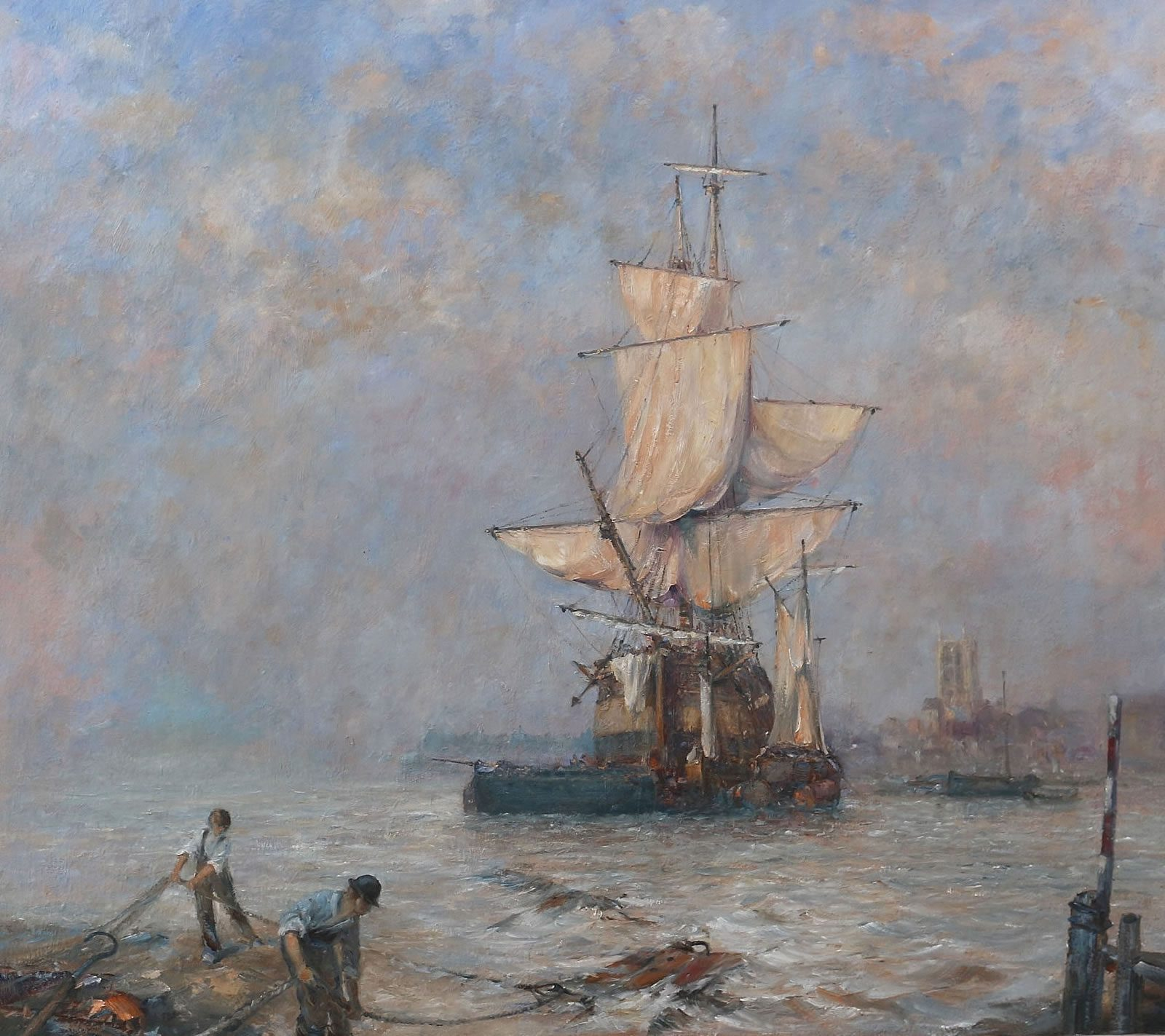 Marine oil painting of a trader's vessel anchored at the mouth of the River Hull