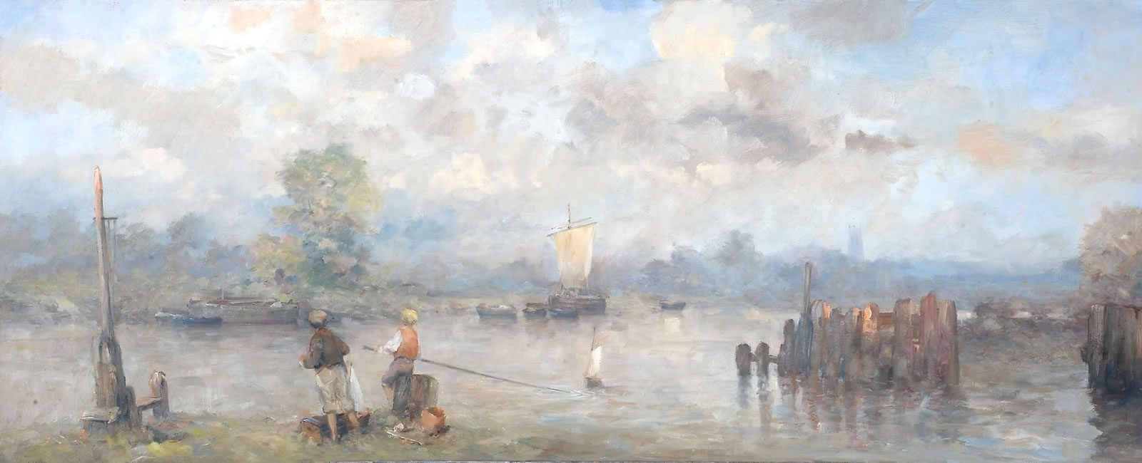 Oil painting of boys playing with a model yacht close by a haven with moored sailboat