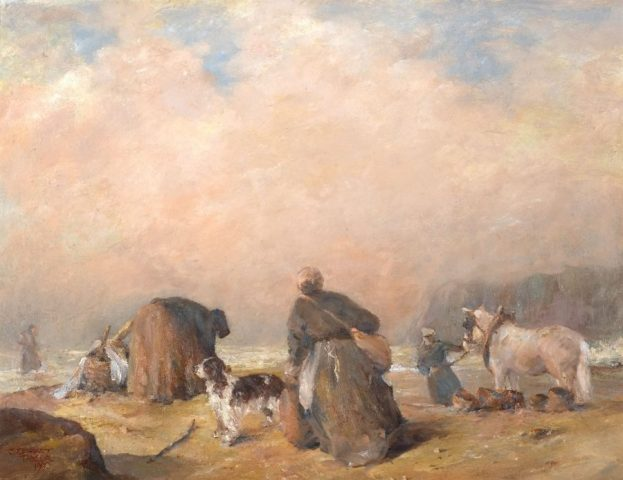 Oil painting of fishermen's wives with horse and dog on the beach