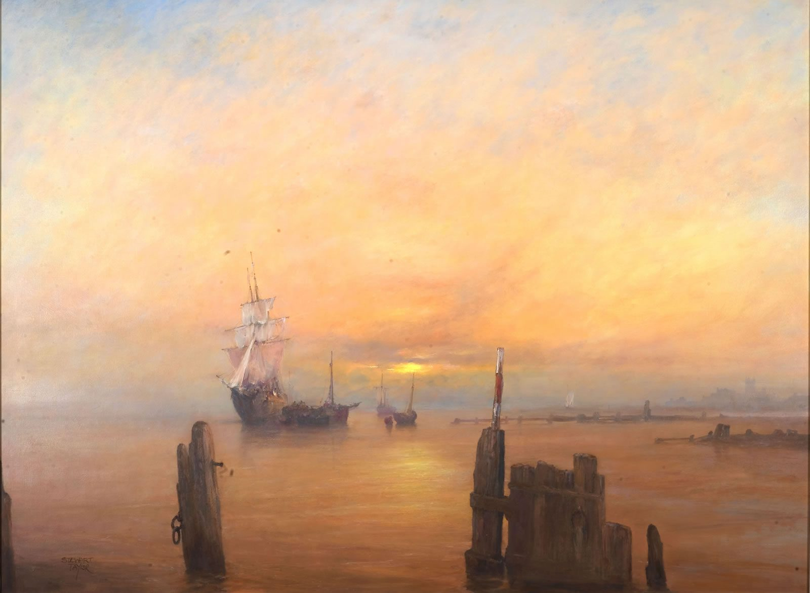 Marine oil painting of sailing ships in the sunset off Sammy}s Point on the Humber at Hull