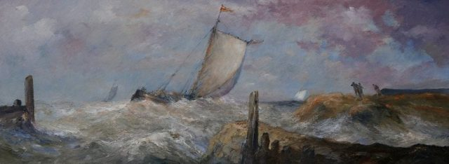 Sailboat tacks into the wind in an oil painting