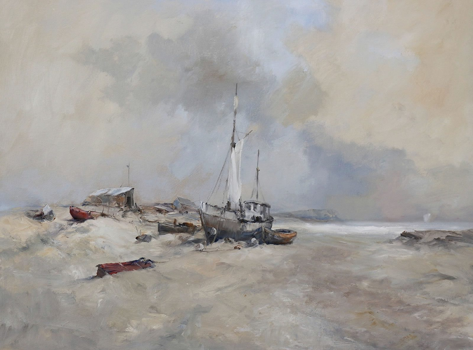 Boats on shore at Suffolk Sands in an oil painting by Stewart Taylor