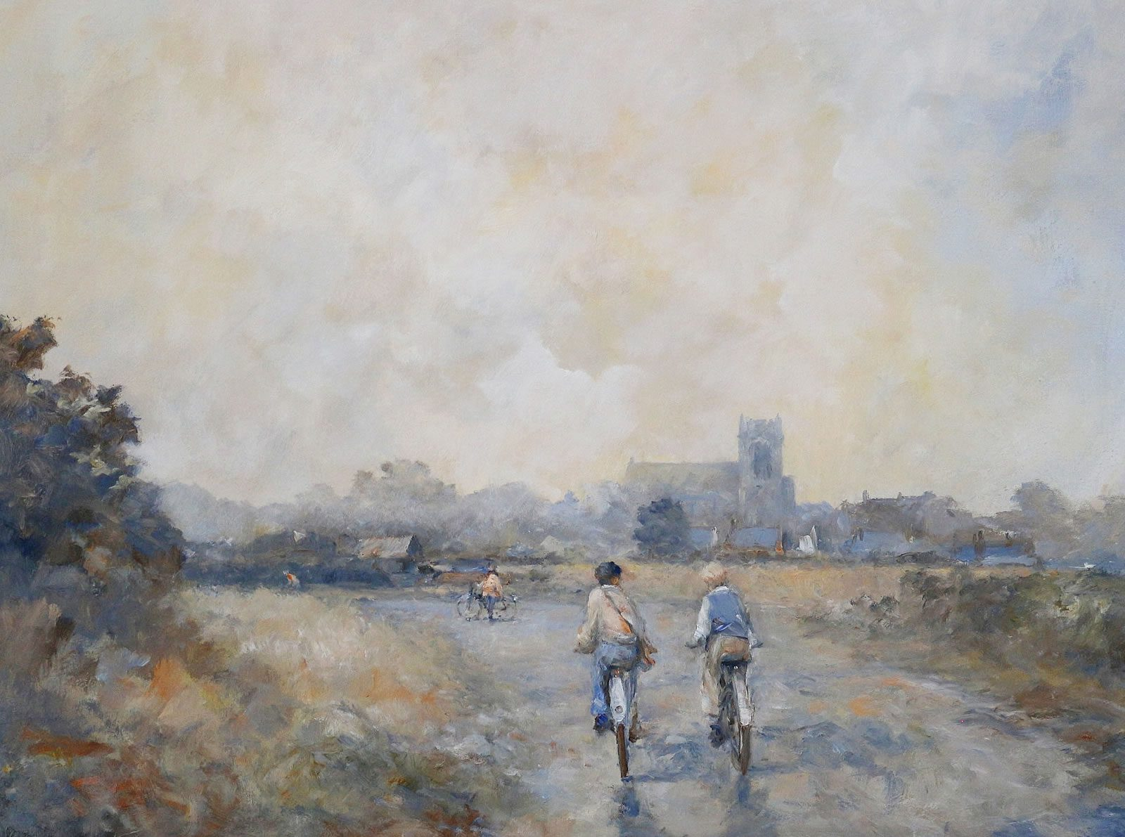 Oil painting of county scene with cyclists by Stewart Taylor