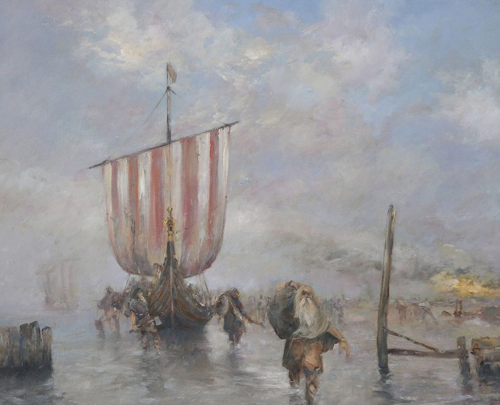 Oil painting of vikings landing at North Ferriby East Yorkshire