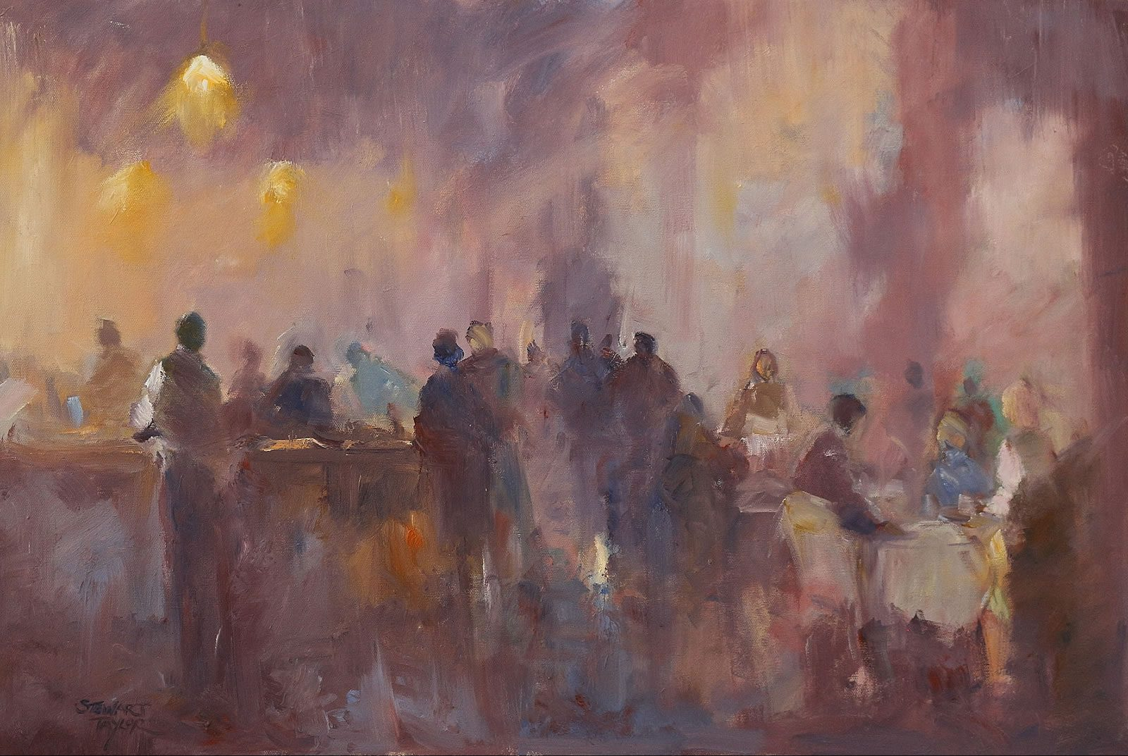 Oil painting of restaurant diners by Stewart Taylor