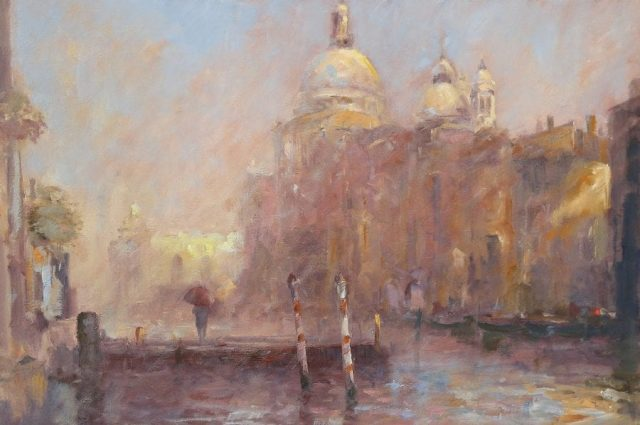 Oil painting of Venice canal scene by Stewart Taylor