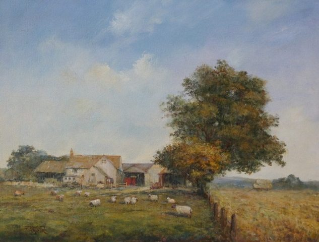 Oil painting of pastoral landscape scene at Skelton Wath by Stewart Taylor