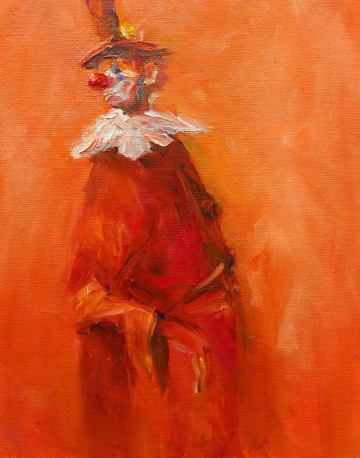 Oil painting study of clown by artist Stewart Taylor