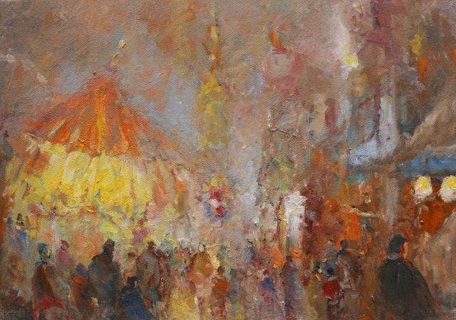 Atmospheric study of a fairground in oils by Stewart Taylor