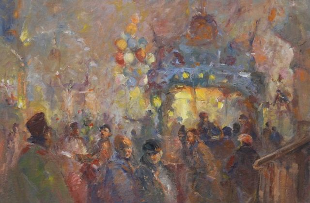 Study in oils of revellers at the fair by East Yorkshire artist Stewart Taylor