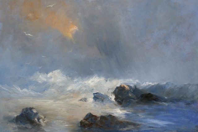 Marine oil painting of gales in the North Sea by Stewart Taylor