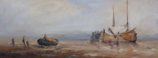Boats bobbing on the high tide in a oil painting by Stewart Taylor