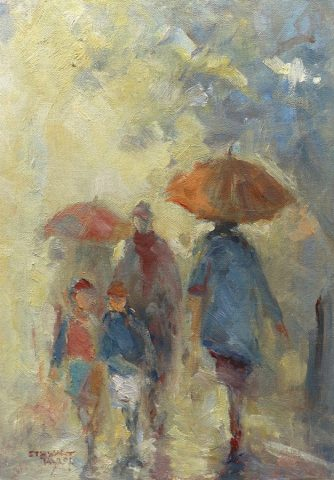 Study of rain street scene in oils by Stewart Taylor