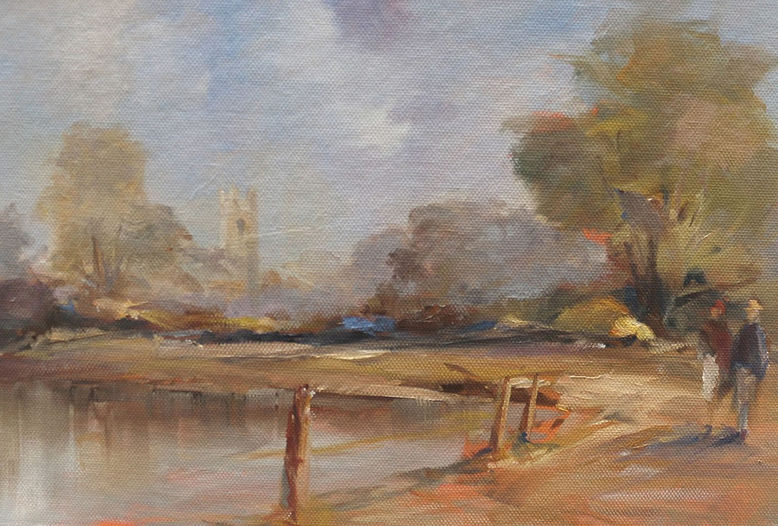 Oil on canvas showing figures in a park scene by Stewart Taylor