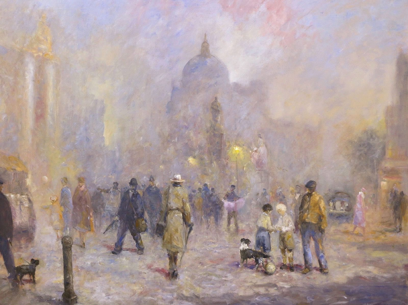 Busy London street scene in oils by Stewart Taylor