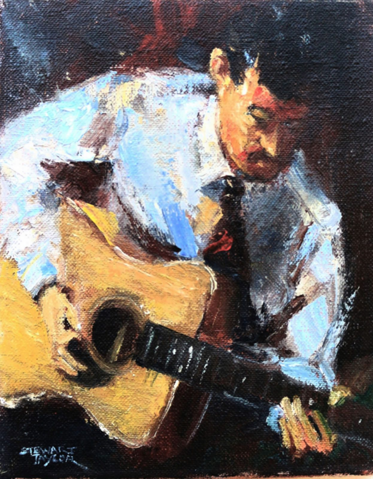 Oil painting character study of musician playing guitar