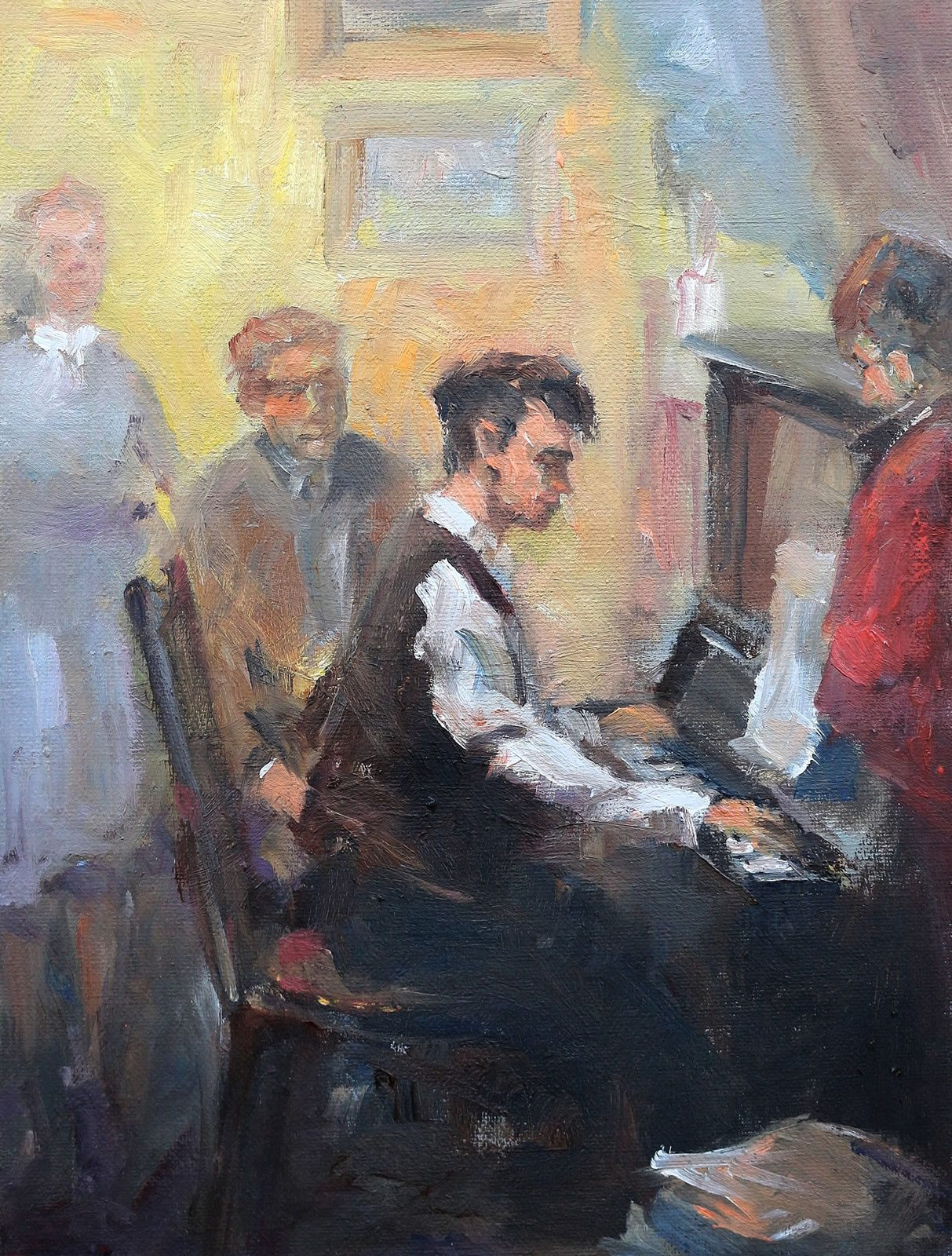 Oil painting of old time piano player by Stewart Taylor