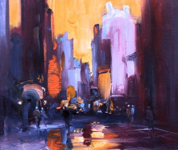 Contemporary urban landscape in oils by Stewart Taylor